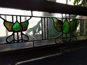 Art Deco art glass transom