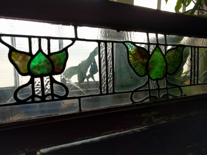 Art Deco art glass transom