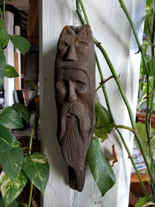 Old Man in the Woods wood carving;