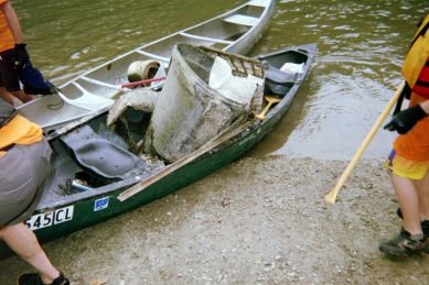 Canoes and debris