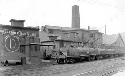 Black & White old photo of factory and train